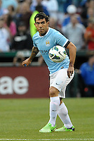 Carlos Tevez (32) Manchester City in action..Manchester City defeated Chelsea 4-3 in an international friendly at Busch Stadium, St Louis, Missouri.