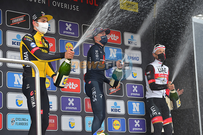 Tom Pidcock (GBR) Ineos Grenadiers wins with Wout Van Aert (BEL) Jumbo-Vismain 2nd place and Matteo Trentin (ITA) UAE Team Emirates 3rd at the end of the 2021 Brabantse Pijl running 201.7km from Leuven to Overijse, Belgium. 14th April 2021.  <br /> Picture: Serge Waldbillig | Cyclefile<br /> <br /> All photos usage must carry mandatory copyright credit (© Cyclefile | Serge Waldbillig)