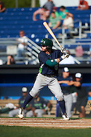 Vermont Lake Monsters second baseman Trace Loehr (6) at bat during a game against the Batavia Muckdogs August 9, 2015 at Dwyer Stadium in Batavia, New York.  Vermont defeated Batavia 11-5.  (Mike Janes/Four Seam Images)