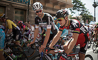 Belgian (cycling) superstars Philippe Gilbert (BEL/BMC) & Tom Boonen (BEL/Etixx-QuickStep) chatting while departing for stage 2 of the 2015 Giro d'Italia<br /> <br /> stage 2: Albenga - Genova (177km)