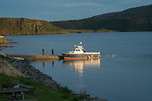 Boat moored at the jetty, Stein, Waternish, Skye