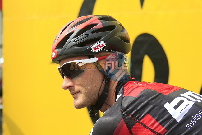 Steve Cummings (GBR) BMC Racing Team at sign on before the start of Stage 1 of the 99th edition of the Tour de France, running 198km from Liege to Seraing starting in Parc d'Avroy Liege, Belgium. 1st July 2012.<br /> (Photo by Eoin Clarke/NEWSFILE)