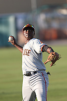 Jesus Galindo (12) of the San Jose Giants throws before a game against the Inland Empire 66ers at San Manuel Stadium on May 30, 2015 in San Bernardino, California. Inland Empire defeated San Jose, 6-4. (Larry Goren/Four Seam Images)