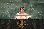 General Assembly Seventy-third session, 14th plenary meeting<br /> <br /> <br /> Her Excellency Sushma SWARAJMinister for External Affairs of India