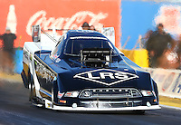 Feb 4, 2016; Chandler, AZ, USA; NHRA funny car driver Brian Hough makes a licensing run during pre season testing at Wild Horse Pass Motorsports Park. Mandatory Credit: Mark J. Rebilas-USA TODAY Sports
