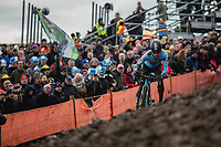 Eli Iserbyt (BEL/Marlux-Bingoal) leading the race.<br /> <br /> <br /> Men U23 Race<br /> UCI CX Worlds 2018<br /> Valkenburg - The Netherlands