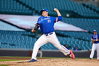 Ryan Weathers (21) of Loretto High School in Loretto, Tennessee during the Under Armour All-American Game presented by Baseball Factory on July 29, 2017 at Wrigley Field in Chicago, Illinois.  (Jon Durr/Four Seam Images)