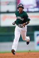 Greenville center fielder Matt Sheely (35) rounds the bases following his 5th inning solo home run versus West Virginia at West End Field in Greenville, SC, Sunday, July 1, 2007.
