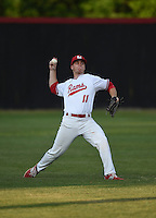 Lake Mary Rams outfielder John Radetsky (11) during practice before a game against the Lake Brantley Patriots on April 2, 2015 at Allen Tuttle Field in Lake Mary, Florida.  Lake Brantley defeated Lake Mary 10-5.  (Mike Janes/Four Seam Images)