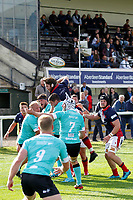 The line out ball goes loose during the Championship Cup match between London Scottish Football Club and Nottingham Rugby at Richmond Athletic Ground, Richmond, United Kingdom on 28 September 2019. Photo by Carlton Myrie / PRiME Media Images