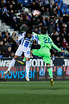 CD Leganes's Jose Luis Garcia del Pozo 'Recio' and Levante UD's Jose Angel Gomez Campana fight for the ball during La Liga match between CD Leganes and Levante UD at Butarque Stadium in Leganes, Spain. March 04, 2019. (ALTERPHOTOS/A. Perez Meca)