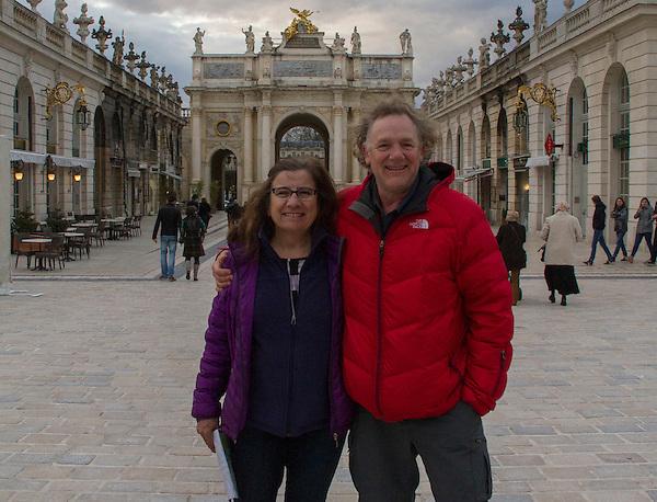 John and Beth in Place Stanislas, Nancy, France, April 2016.