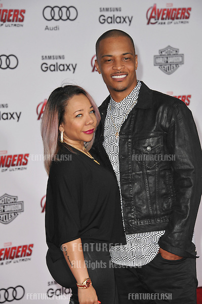 """Hip-hop artist T.I. & wife Tameka """"Tiny"""" Cottle-Harris at the world premiere of """"Avengers: Age of Ultron"""" at the Dolby Theatre, Hollywood.<br /> April 13, 2015  Los Angeles, CA<br /> Picture: Paul Smith / Featureflash"""