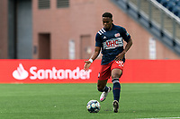 FOXBOROUGH, MA - MAY 12: Francois Dulysse #60 of New England Revolution II passes the ball during a game between Union Omaha and New England Revolution II at Gillette Stadium on May 12, 2021 in Foxborough, Massachusetts.