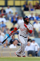 Denard Span #2 of the Washington Nationals bats against the Los Angeles Dodgers at Dodger Stadium on May 13, 2013 in Los Angeles, California. (Larry Goren/Four Seam Images)