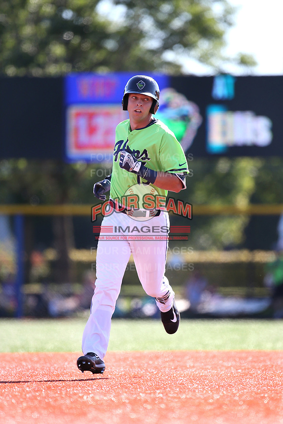 Drew Ellis (15) of the Hillsboro Hops runs the bases during a game against the Spokane Indians at Ron Tonkin Field on July 23, 2017 in Hillsboro, Oregon. Spokane defeated Hillsboro, 5-3. (Larry Goren/Four Seam Images)