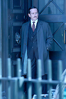 """MATTHEW MacFADYEN.Filming """"Marple: A Pocketful of Rye"""", Victoria House, Bloomsbury, London, England..March 21st, 2008. Inspector Neele on the set of grey gray trench coat full length suit .CAP/IA.©Ian Allis/Capital Pictures."""