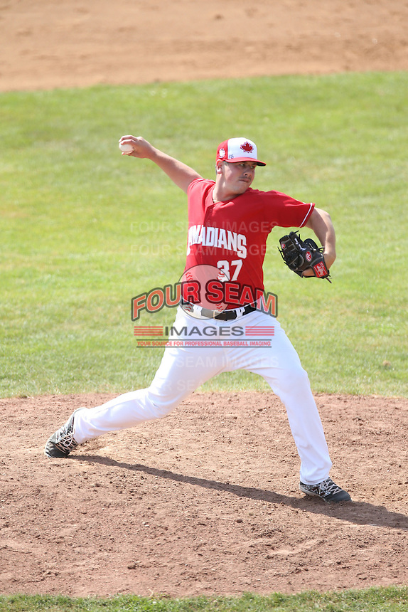 Andrew Case (37) of the Vancouver Canadians pitches during a game against the Eugene Emeralds at Nat Bailey Stadium on July 22, 2015 in Vancouver, British Columbia. Vancouver defeated Eugene, 4-2. (Larry Goren/Four Seam Images)