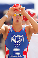 28 JUL 2013 - LONDON, GBR - Emma Pallant prepares for the start of the Elite Women's race during the 2013 Virgin Active London Triathlon at Excel, Royal Victoria Dock in London, Great Britain (PHOTO COPYRIGHT © 2013 NIGEL FARROW, ALL RIGHTS RESERVED)