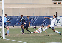Jose Colchao #11 of Georgetwn University reaches for the ball as Chris Bresnahan #0 of Villanova University waits for a shot during a Big East match at North Kehoe Field, Georgetown University on October16 2010 in Washington D.C. Georgetown won 3-1.