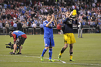 Chelsea's Fernado Torres and Petr Cech applaud the fans at the end of the game..Manchester City defeated Chelsea 4-3 in an international friendly at Busch Stadium, St Louis, Missouri.