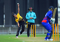 Wellington's Maneka Singh bowls during the women's Hallyburton Johnstone Shield cricket match between the Wellington Blaze and Auckland Hearts at Basin Reserve in Wellington, New Zealand on Sunday, 17 November 2019. Photo: Dave Lintott / lintottphoto.co.nz