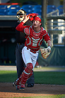 Auburn Doubledays catcher Erik VanMeetren (8) keeps his eye on a batted ball in front of umpire Dexter Kelley during a game against the Mahoning Valley Scrappers on June 19, 2016 at Falcon Park in Auburn, New York.  Mahoning Valley defeated Auburn 14-3.  (Mike Janes/Four Seam Images)