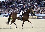 Fiona Bigwood and WIE-Atlantico De Ymas of Great Britain perform their Freestyle Dressage in the Grand Prix Freestyle Dressage competition at the Alltech World Equestrian Games in Lexington, Kentucky.