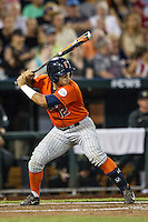 Cal State Fullerton Titans third baseman Jerrod Bravo (12) at bat during the NCAA College baseball World Series against the Vanderbilt Commodores on June 14, 2015 at TD Ameritrade Park in Omaha, Nebraska. The Titans were leading 3-0 in the bottom of the sixth inning when the game was suspended by rain. (Andrew Woolley/Four Seam Images)