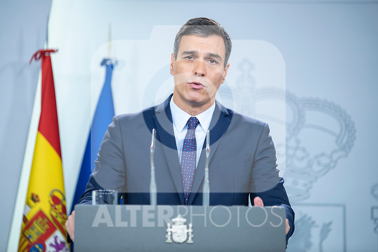 """The president of the Spanish Government, Pedro Sanchez, arrives at his appearance on the sentence of """"proces"""" in the Moncloa palace<br />  October 14, 2019. <br /> (ALTERPHOTOS/David Jar)"""