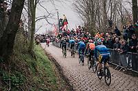 breakaway group coming over the top of the Oude Kwaremont<br /> <br /> 102nd Ronde van Vlaanderen 2018 (1.UWT)<br /> Antwerpen - Oudenaarde (BEL): 265km
