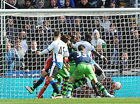 Moussa Sissoko of Newcastle United (right) scores their second goal during the Barclays Premier League match between Newcastle United and Swansea City played at St. James' Park, Newcastle upon Tyne, on the 16th April 2016