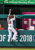 13 October 2016: Washington Nationals outfielder Jayson Werth is unable to catch a Joc Pederson home run ball in the 7th inning of the NLDS Game 5 against the Los Angeles Dodgers at Nationals Park in Washington, DC. The Dodgers edged out the Nationals 4-3, to take Game 5 of the Series, 3 games to 2, and move on to the National League Championship Series against the Chicago Cubs. Mandatory Credit: Ed Wolfstein Photo *** RAW (NEF) Image File Available ***