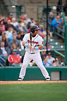 Rochester Red Wings Willians Astudillo (48) bats during an International League game against the Charlotte Knights on June 16, 2019 at Frontier Field in Rochester, New York.  Rochester defeated Charlotte 3-2 in the second game of a doubleheader.  (Mike Janes/Four Seam Images)