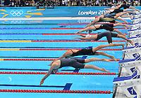 August 01, 2012..LtoR: Amy Smith, Julia Wilkinson, Ranomi Kromowidjojo, Y Tang, Jaenette Ottesen Gray, Francesca Halsall, Missy Franklin and Femke Heemskerk compete in Women's 100m Semifinal at the Aquatics Center on day five of 2012 Olympic Games in London, United Kingdom.