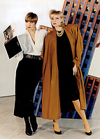 1985 FILE PHOTO - ARCHIVES -<br /> <br /> rust and black blazer; $735; over white silk blouse; $495; and gray flannel trousers; $675. <br /> <br /> 1985<br /> <br /> PHOTO :  Erin Comb - Toronto Star Archives - AQP