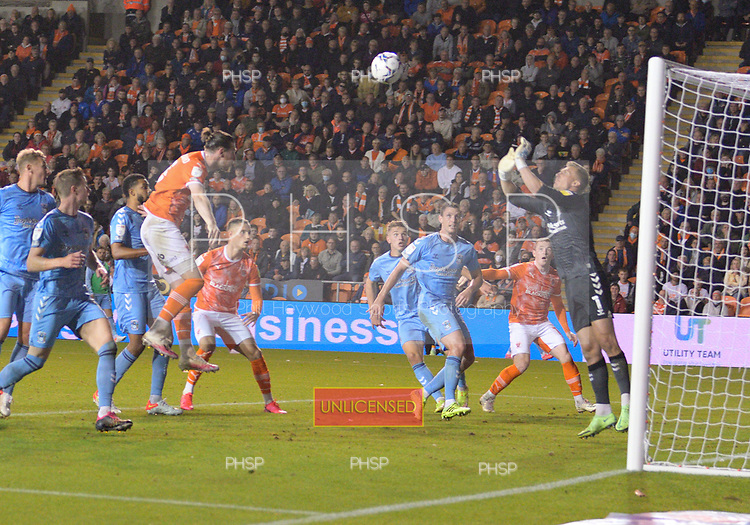 17/08/2021 Sky Bet Championship Blackpool v Coventry  <br /> <br /> James Husband heads high and wide
