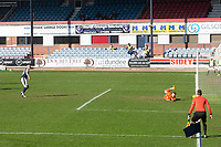 3rd April 2021; Dens Park, Dundee, Scotland; Scottish FA Cup Football, Dundee FC versus St Johnstone; St Johnstone goalkeeper ZanderClark saves a penalty from Charlie Adam of Dundee in the 75th minute