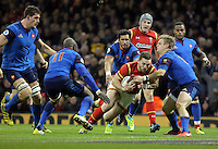 George North of Wales (in red) scores a try during the Wales v France, 2016 RBS 6 Nations Championship, at the Principality Stadium, Cardiff, Wales, UK
