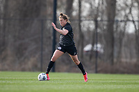 LOUISVILLE, KY - MARCH 13: Savannah McCaskill #7 of Racing Louisville FC maneuvers the ball during a game between West Virginia University and Racing Louisville FC at Thurman Hutchins Park on March 13, 2021 in Louisville, Kentucky.
