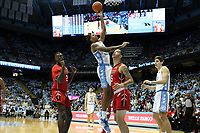 CHAPEL HILL, NC - NOVEMBER 01: Armando Bacot #5 of the University of North Carolina shoots a layup during a game between Winston-Salem State University and University of North Carolina at Dean E. Smith Center on November 01, 2019 in Chapel Hill, North Carolina.