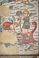 Close up detail picture of the Roman mosaics of the Room of Fishing Cupids depicting cupids fishing from boats using a fishing trap and a rod and line, room no 24  at the Villa Romana del Casale, first quarter of the 4th century AD. Sicily, Italy. A UNESCO World Heritage Site.<br /> <br /> The Fishing cupids room was a dining room for guests of the Villa Romana del Casale. The mosaic floor represents a sea scene with four boats from which cupids are busy fishing. The mosaic depicts sea around the boats abounds with marine life. The mosaic show several Roman fishing techniques using nets, fishing lines, harpoon and fish traps.