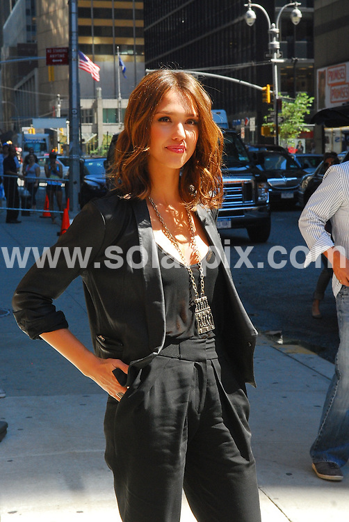 **ALL ROUND PICTURES FROM SOLARPIX.COM**.**SYNDICATION RIGHTS FOR UK, AUSTRALIA, DENMARK, PORTUGAL, S. AFRICA, SPAIN & DUBAI (U.A.E) & ASIA (EXCLUDING JAPAN) ONLY**.Jessica Alba arrives at Late Show with David Letterman, Ed Sullivan Theater, NY, USA, 30 August 2010.This pic: Jessica Alba .JOB REF: 12020     PHZ kasim    DATE: 30_08_2010.**MUST CREDIT SOLARPIX.COM OR DOUBLE FEE WILL BE CHARGED**.**MUST NOTIFY SOLARPIX OF ONLINE USAGE**.**CALL US ON: +34 952 811 768 or LOW RATE FROM UK 0844 617 7637**