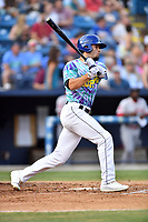 Asheville Hippies right fielder Willie Abreu (6) swings at a pitch during a game against the Greenville Drive at McCormick Field on June 29, 2017 in Asheville, North Carolina. The Drive defeated the Tourists 9-6. (Tony Farlow/Four Seam Images)