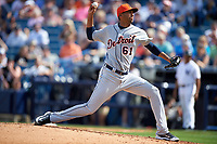 Detroit Tigers pitcher Eduardo Briceno (61) delivers a pitch during a Spring Training game against the New York Yankees on March 2, 2016 at George M. Steinbrenner Field in Tampa, Florida.  New York defeated Detroit 10-9.  (Mike Janes/Four Seam Images)