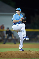 Burlington Royals relief pitcher Elliott Anderson (28) in action against the Johnson City Cardinals at Burlington Athletic Stadium on September 3, 2019 in Burlington, North Carolina. The Cardinals defeated the Royals 7-2 to even Appalachian League Championship series at one game a piece. (Brian Westerholt/Four Seam Images)