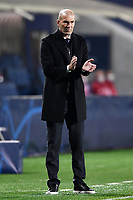 Zinedine Zidane coach of Real Madrid reacts during the Champions League round of 16 football match between Atalanta BC and Real Madrid at Atleti azzurri d'Italia stadium in Bergamo (Italy), February, 24th, 2021. Photo Image Sport  / Insidefoto