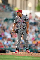 Lehigh Valley IronPigs starting pitcher Ranger Suarez (40) looks in for the sign during a game against the Rochester Red Wings on June 29, 2018 at Frontier Field in Rochester, New York.  Lehigh Valley defeated Rochester 2-1.  (Mike Janes/Four Seam Images)