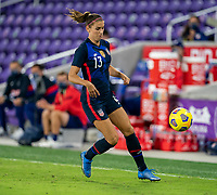 ORLANDO, FL - FEBRUARY 24: Alex Morgan #13 of the USWNT dribbles during a game between Argentina and USWNT at Exploria Stadium on February 24, 2021 in Orlando, Florida.