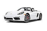 Stock pictures of low aggressive front three quarter view of 2017 Porsche 718 Boxster-S 2 Door Convertible Low Aggressive